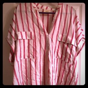 NWT Maeve for Anthro striped popover in pink/white